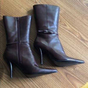 Wine colored calf high boots